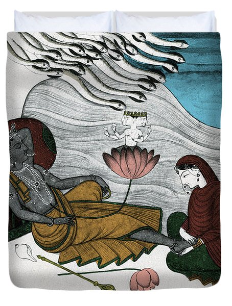 Vishnu And Lakshmi Duvet Cover