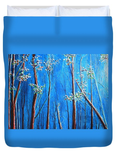 Duvet Cover featuring the painting Waiting by Dan Whittemore