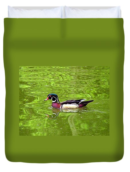 Water Wood Duck Duvet Cover