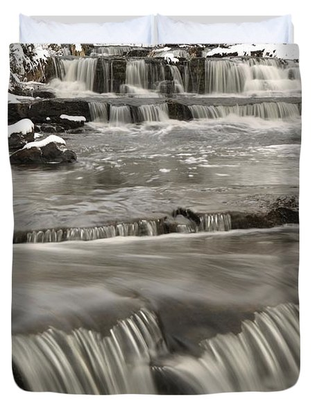 Waterfalls With Fresh Snow Thunder Bay Duvet Cover by Susan Dykstra