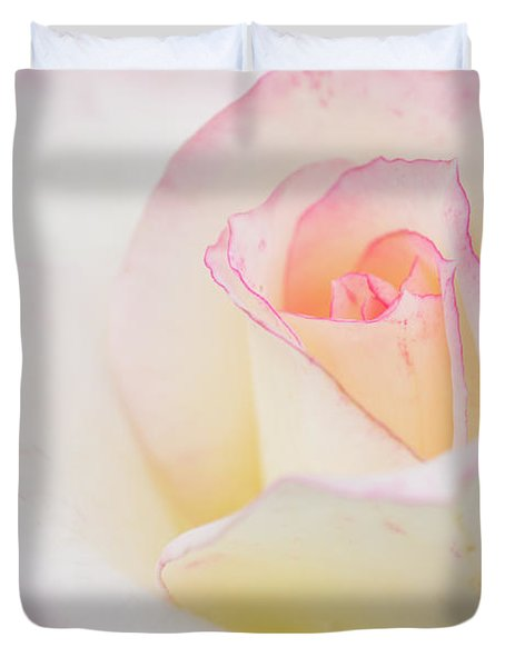 White Rose With Pink Edge Duvet Cover by Atiketta Sangasaeng
