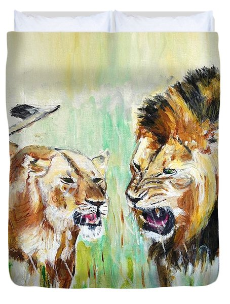 Duvet Cover featuring the painting wild Kingdom by Judy Kay