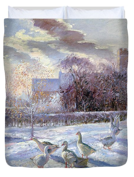 Winter Geese In Church Meadow Duvet Cover by Timothy Easton