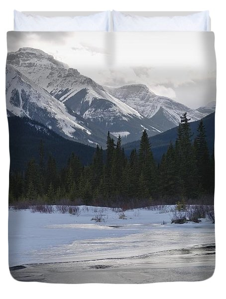 Winter Landscape, Banff National Park Duvet Cover by Keith Levit