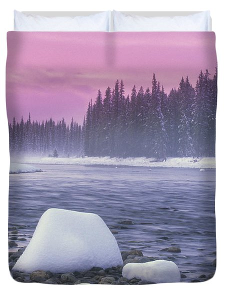 Winter Sunset On Bow River, Banff Duvet Cover by Darwin Wiggett