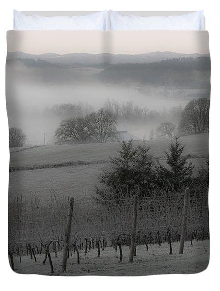 Winter Vineyard Duvet Cover by Jean Noren