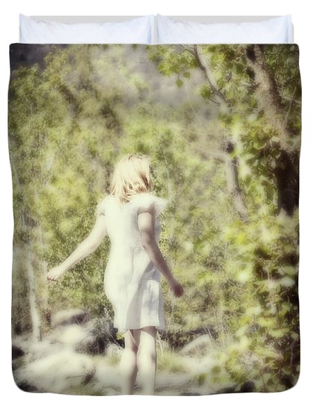 Woman In A Forest Duvet Cover by Joana Kruse