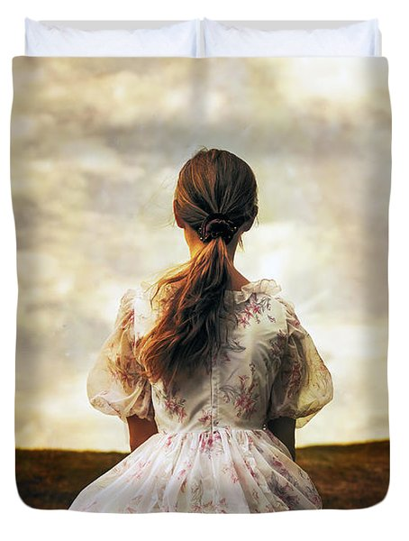Woman On A Meadow Duvet Cover by Joana Kruse