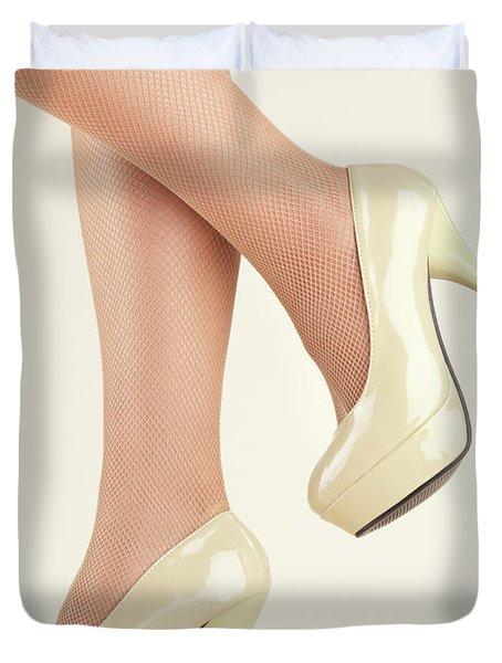 Woman Wearing High Heel Shoes Duvet Cover by Oleksiy Maksymenko