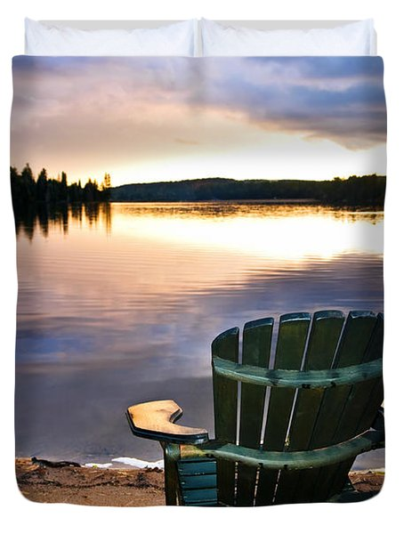 Wooden Chair At Sunset On Beach Duvet Cover by Elena Elisseeva