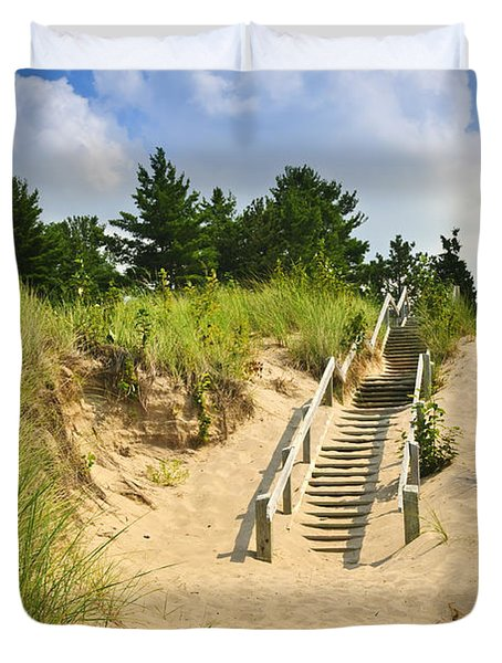 Wooden Stairs Over Dunes At Beach Duvet Cover by Elena Elisseeva