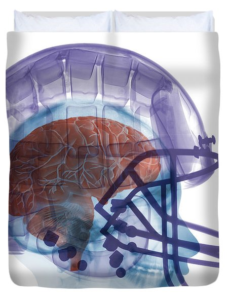 X-ray Of Head In Football Helmet Duvet Cover by Ted Kinsman