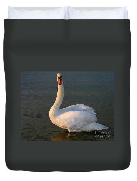 Duvet Cover featuring the photograph Swan by Odon Czintos