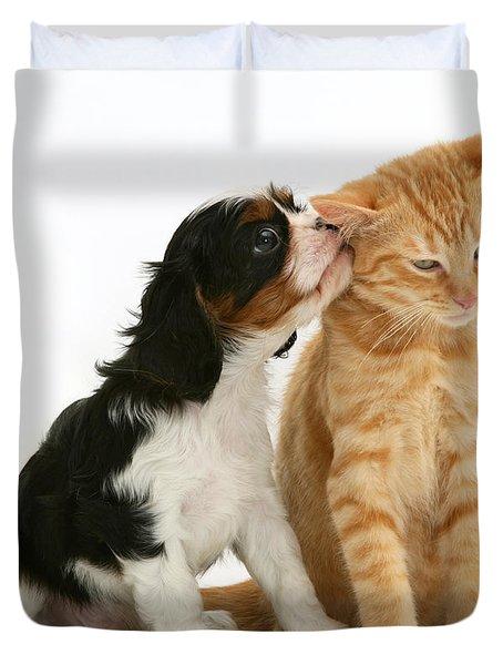 Puppy And Kitten Duvet Cover by Jane Burton
