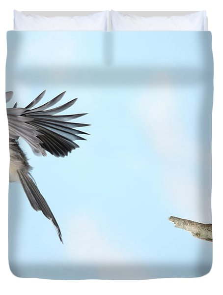 Tufted Titmouse In Flight Duvet Cover by Ted Kinsman