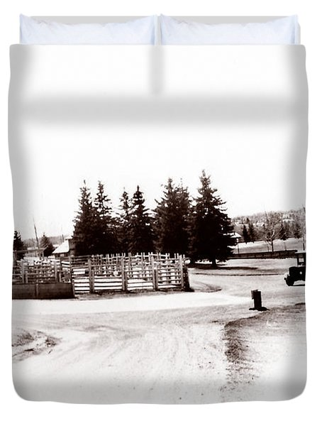 1900 Farm Duvet Cover by Marcin and Dawid Witukiewicz