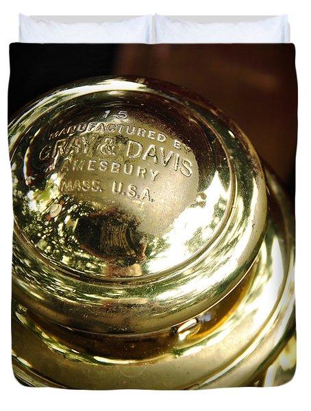 1907 Stanley Steamer - Top View Brass Tail Light Duvet Cover by Kaye Menner