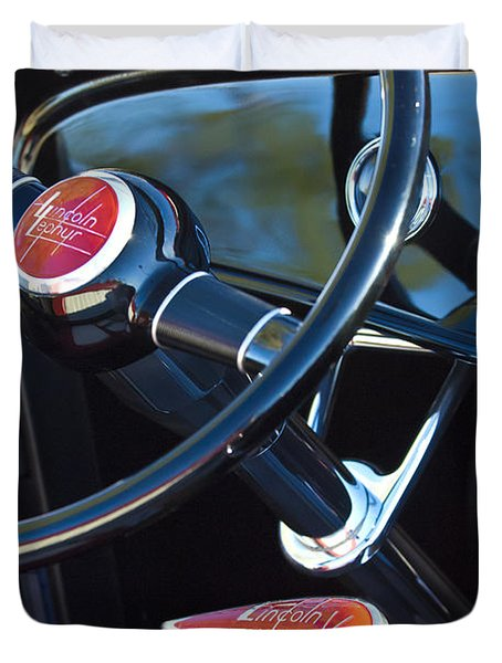 1932 Hot Rod Lincoln V12 Steering Wheel Emblem Duvet Cover by Jill Reger