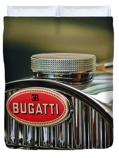 1935 Bugatti Type 57 Grand Raid Roadster Emblem Duvet Cover by Jill Reger