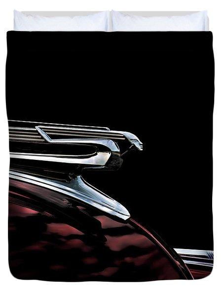 1940 Chevy Hood Ornament Duvet Cover