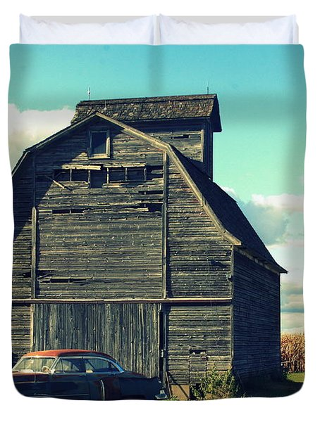 1950 Cadillac Barn Cornfield Duvet Cover by Lyle Hatch