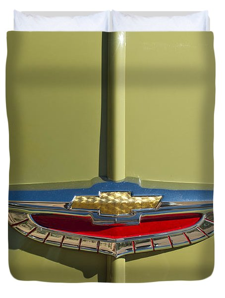 1950 Chevrolet Fleetline Emblem Duvet Cover by Jill Reger