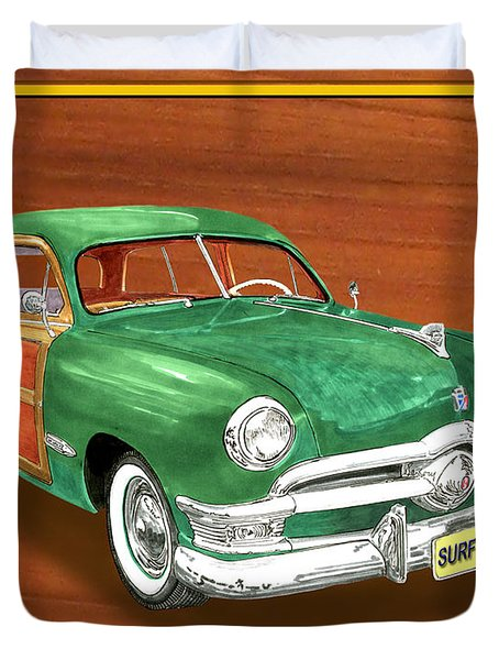 1950 Ford Country Squire Woody Duvet Cover by Jack Pumphrey