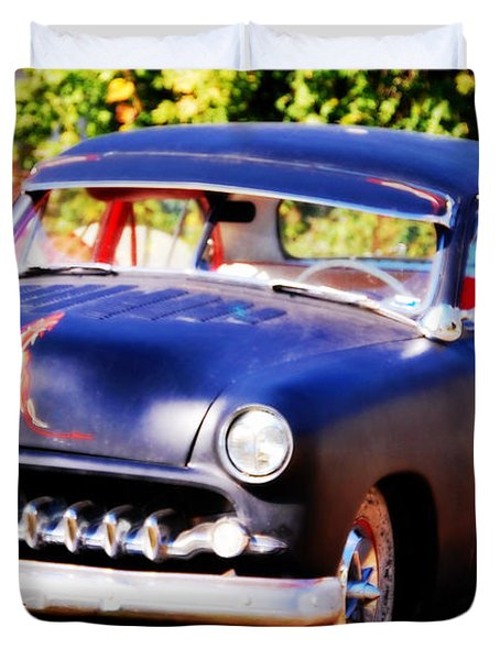 Duvet Cover featuring the photograph 1950 Ford  Vintage by Peggy Franz