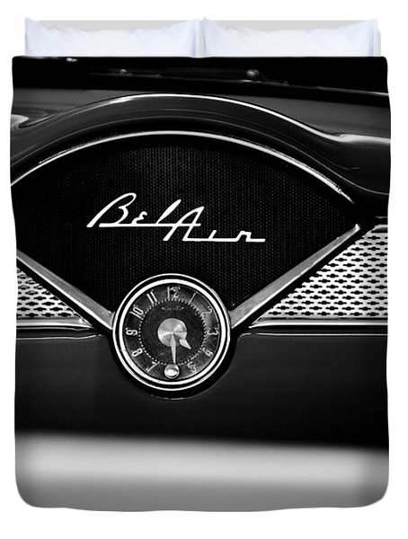 1955 Chevy Bel Air Glow Compartment In Black And White Duvet Cover