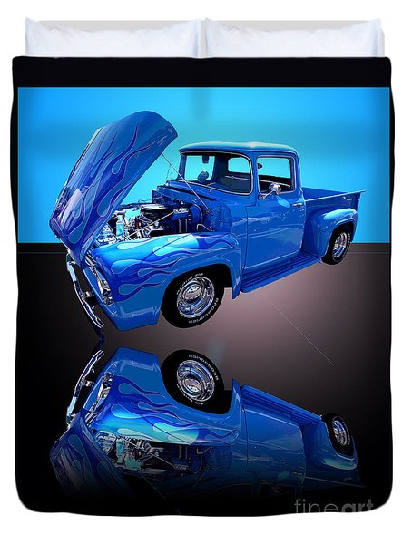 1956 Ford Blue Pick-up Duvet Cover by Jim Carrell
