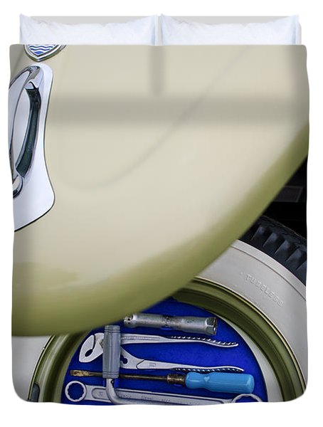 Duvet Cover featuring the photograph 1956 Volkswagen Vw Bug Tool Kit by Jill Reger