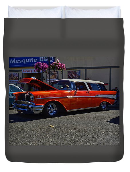 Duvet Cover featuring the photograph 1957 Belair Wagon by Tikvah's Hope
