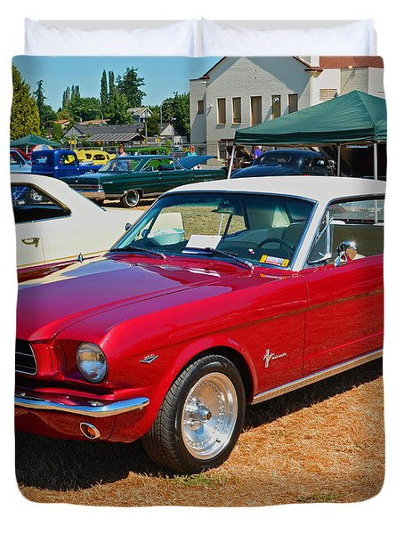 Duvet Cover featuring the photograph 1964 Ford Mustang by Tikvah's Hope