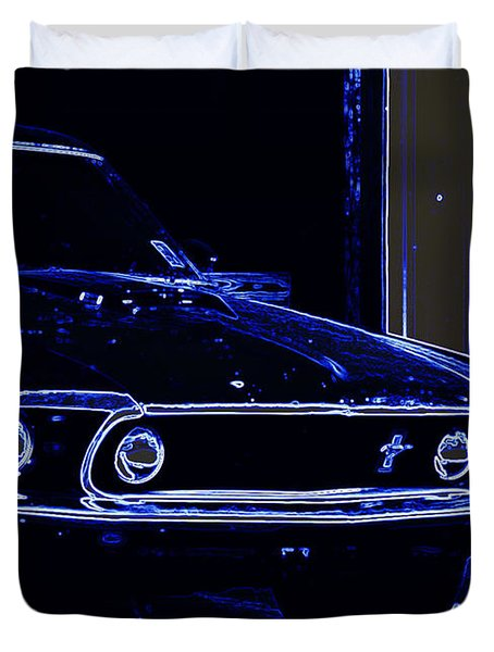 1969 Mustang In Neon Duvet Cover by Susan Bordelon