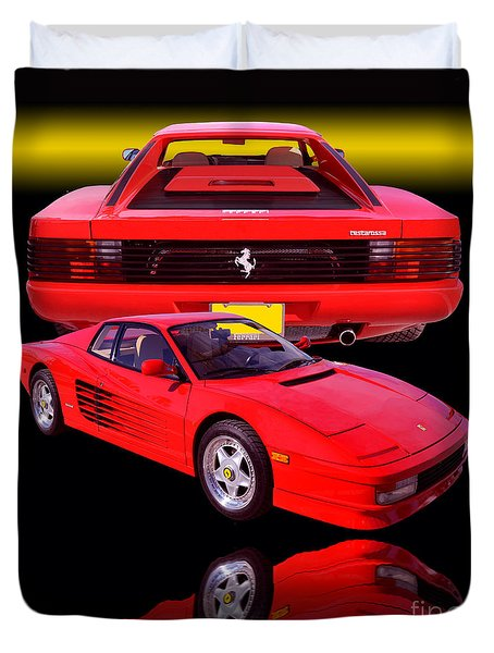 1990 Ferrari Testarossa Duvet Cover by Jim Carrell