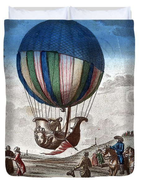 1st Manned Hydrogen Balloon Flight, 1783 Duvet Cover by Photo Researchers