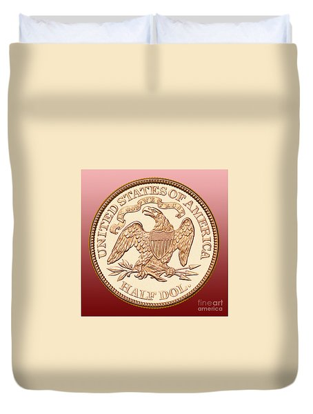 1870 Liberty Seated Half Dollar Duvet Cover by Jim Carrell