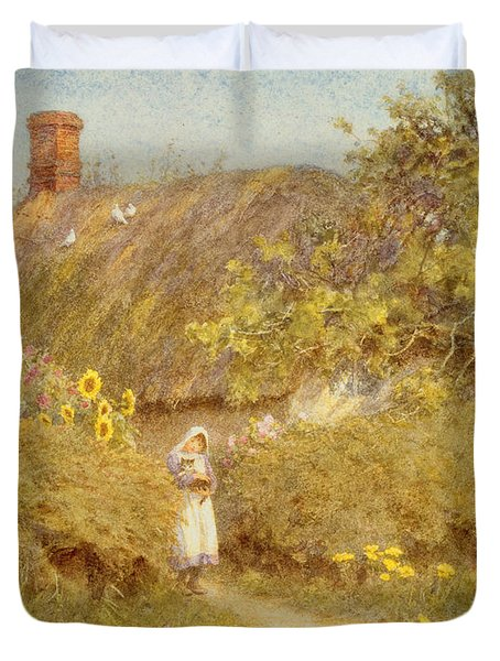 A Surrey Cottage Duvet Cover by Helen Allingham