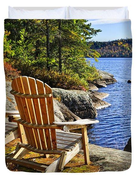 Adirondack Chairs At Lake Shore Duvet Cover