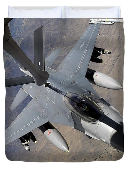 An F-16 Fighting Falcon Receives Fuel Duvet Cover by Stocktrek Images
