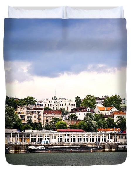 Belgrade Cityscape On Danube Duvet Cover by Elena Elisseeva