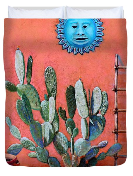 Duvet Cover featuring the painting Blue Sun by M Diane Bonaparte