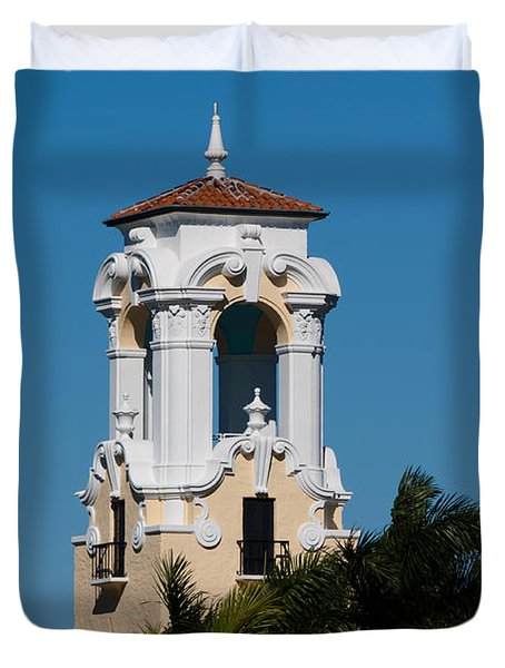 Duvet Cover featuring the photograph Congregational Church Tower by Ed Gleichman