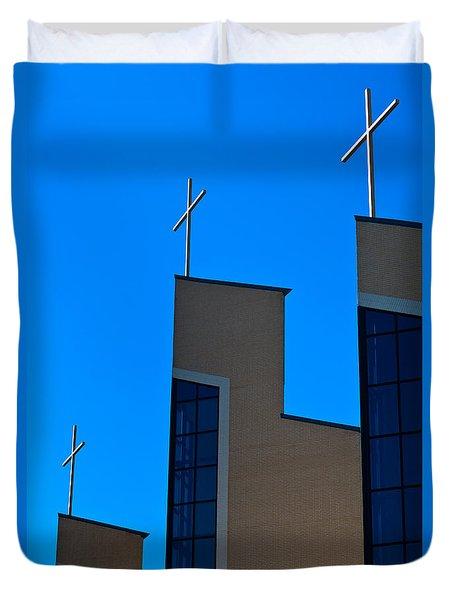 Duvet Cover featuring the photograph Crosses Of Livingway Church by Ed Gleichman