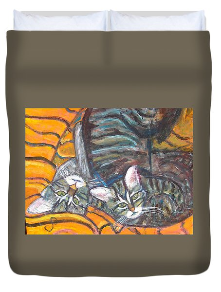 Dos Gatos Duvet Cover by Carolyn Donnell