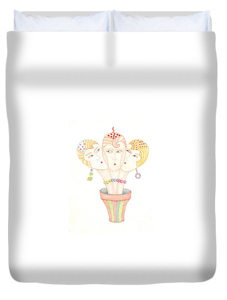 Duvet Cover featuring the painting Flower Pot Ladies by Nareeta Martin