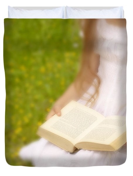 Girl Is Reading A Book Duvet Cover by Joana Kruse