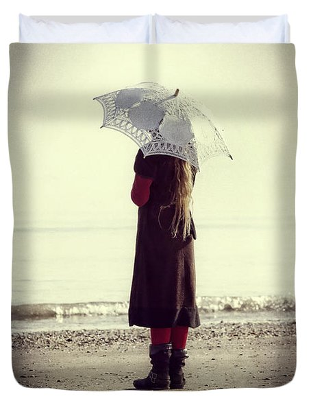 Girl On The Beach With Parasol Duvet Cover by Joana Kruse