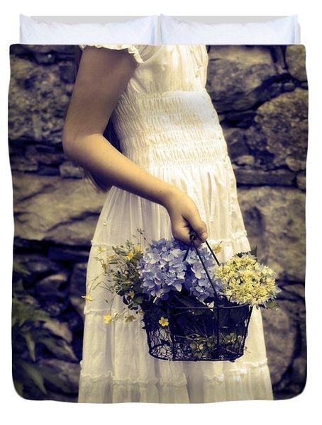 Girl With Flowers Duvet Cover by Joana Kruse
