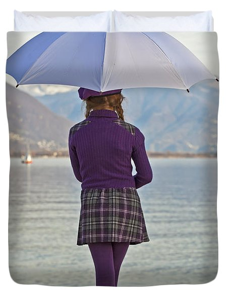 Girl With Umbrella Duvet Cover by Joana Kruse